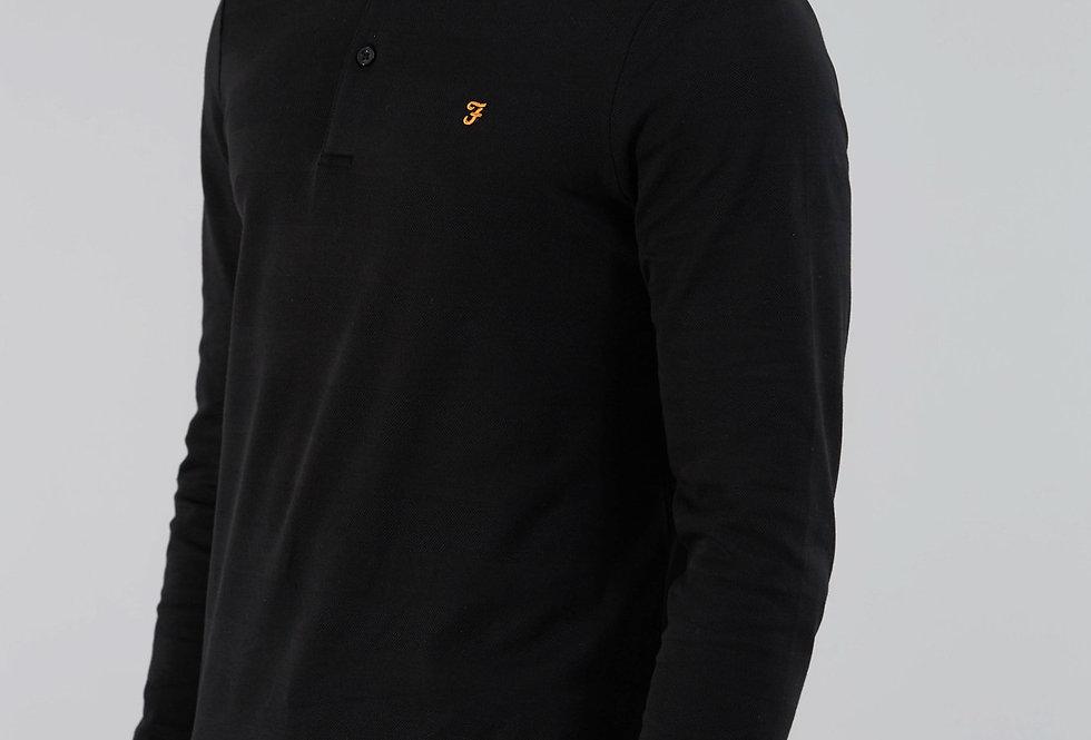 Farah - Stapleton Long Sleeve Polo - Black