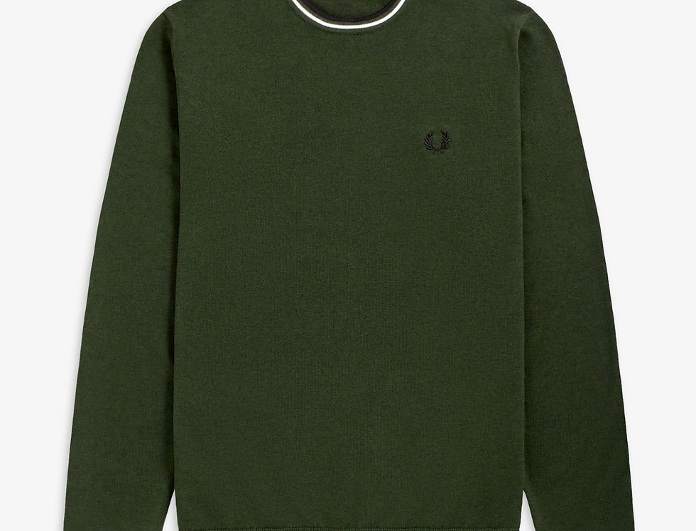 Fred Perry - Classic Crew Neck Jumper - Hunting Green/Snow White/Black