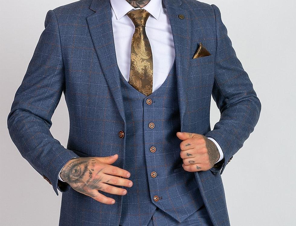 Marc Darcy - Mathew - Sky Blue Tweed Check Blazer