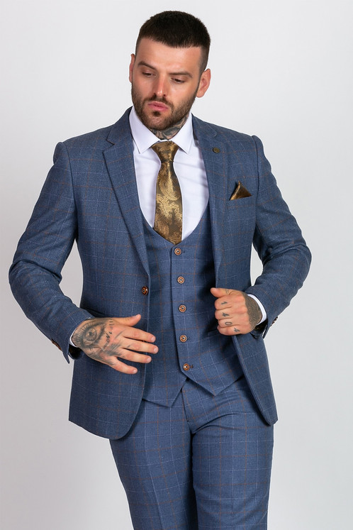 1d51c9d110ac Marc Darcy - Mathew - Sky Blue Tweed Check Three Piece Suit
