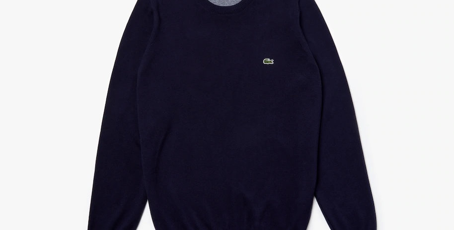 Lacoste - Crew Neck Caviar Piqué Accent Cotton Jersey Sweater - Navy Blue
