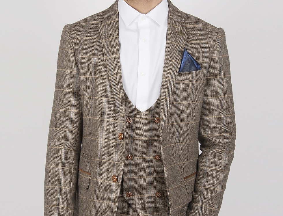 Marc Darcy - Ted - Tan Tweed Herringbone Check Blazer