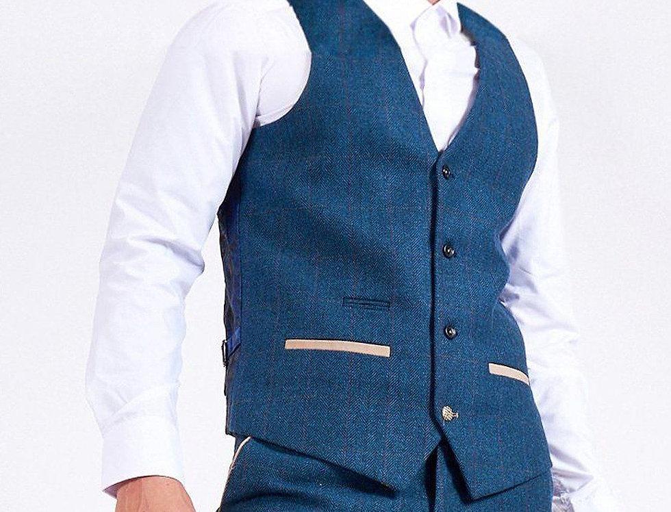 Marc Darcy - DION - Blue Tweed Herringbone Waistcoat