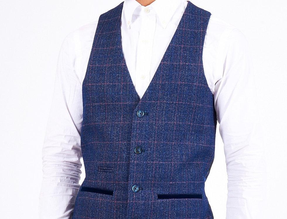 Marc Darcy - Harry - Indigo Single Breasted Tweed Check Waistcoat