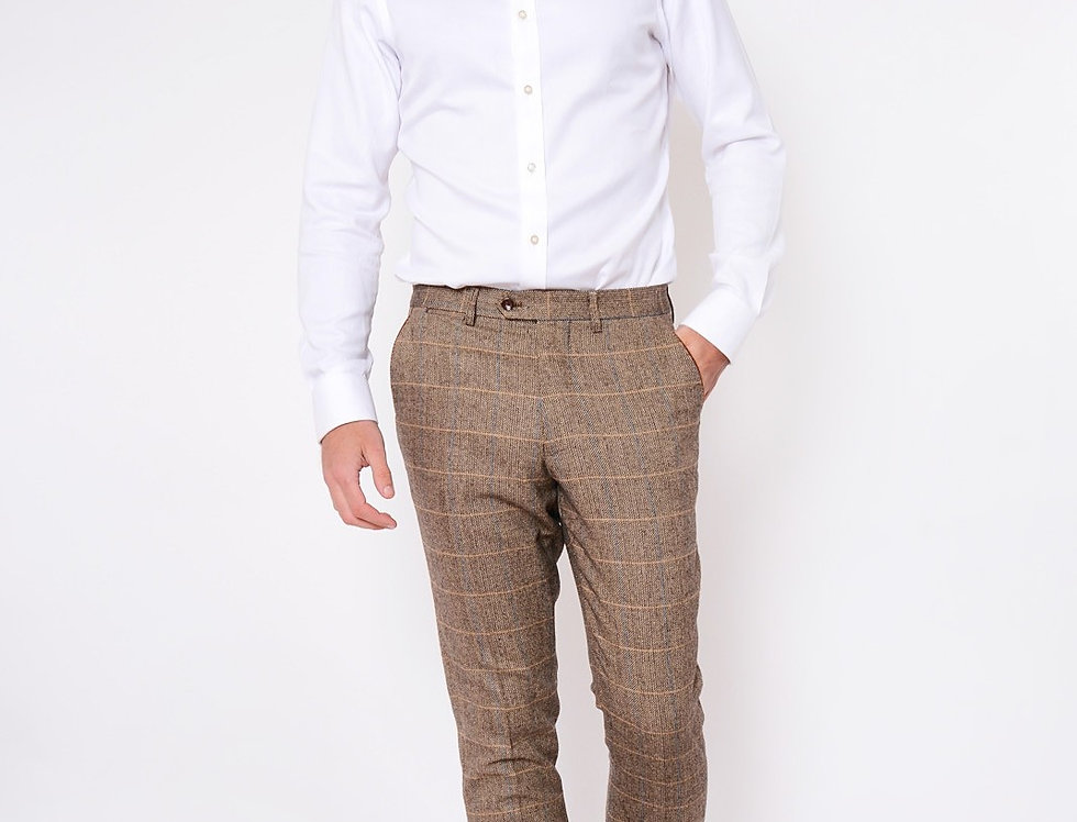 Marc Darcy - Blake/DX7/Ted - Tan Tonal Check Tweed Trousers
