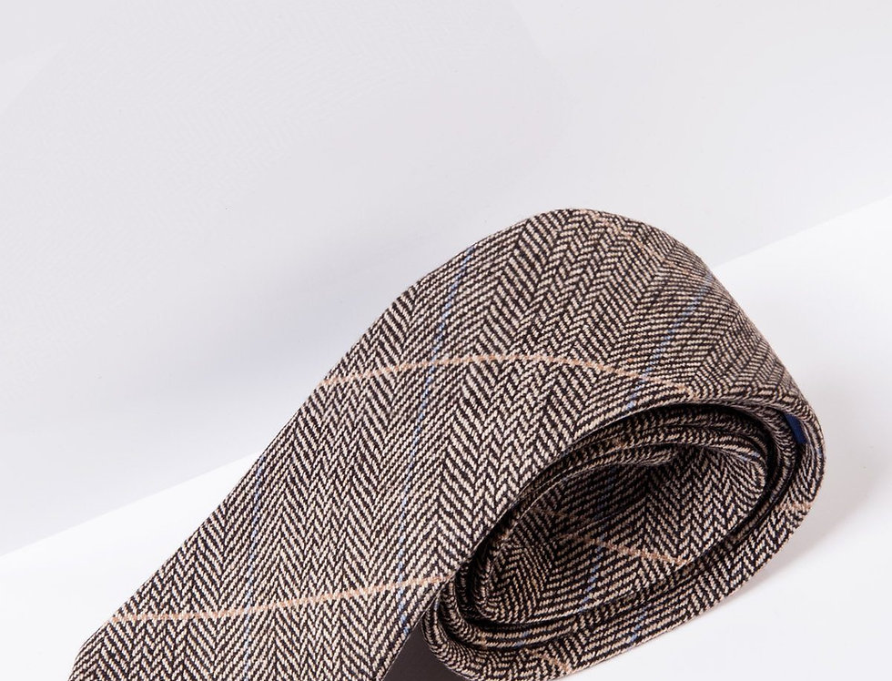 Marc Darcy - Ted - Tan Tweed Check Tie