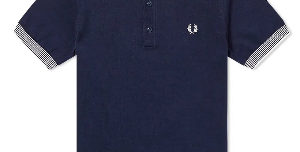 Fred Perry - Stripe Trim Knitted Polo Shirt - Navy