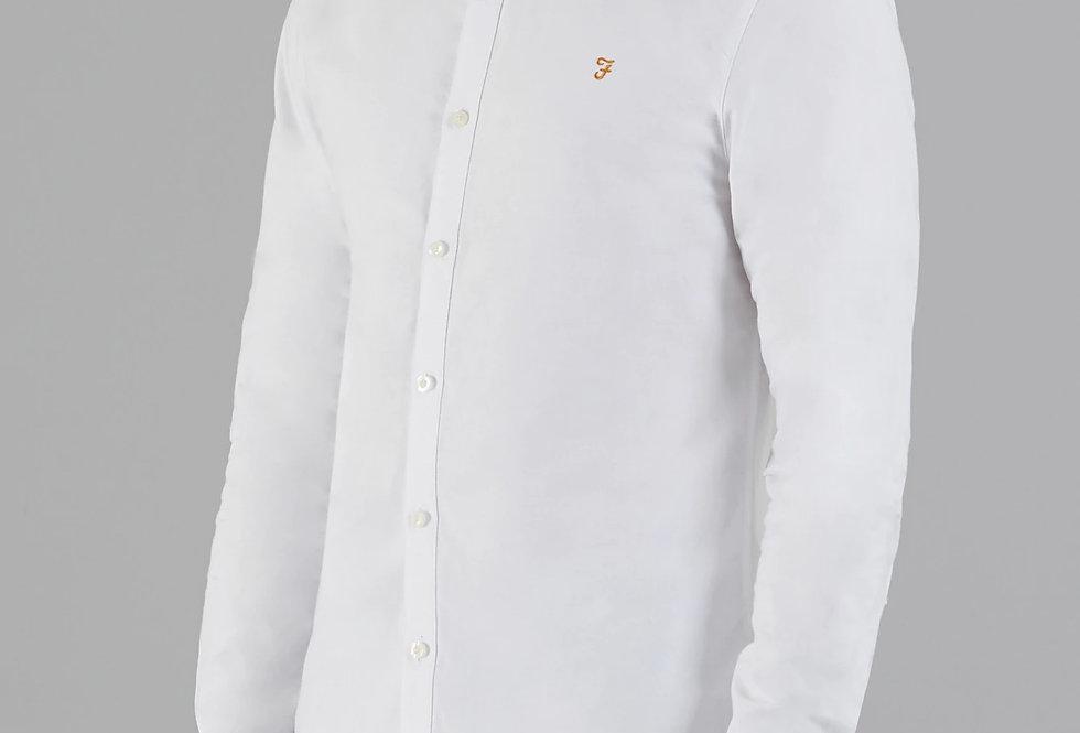 Farah - Brewer Grandad Collar Shirt -White