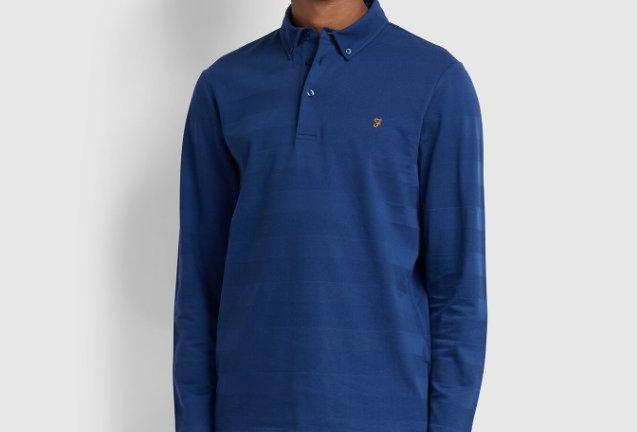Farah - Stapleton - Long Sleeve Polo - Blue Peony