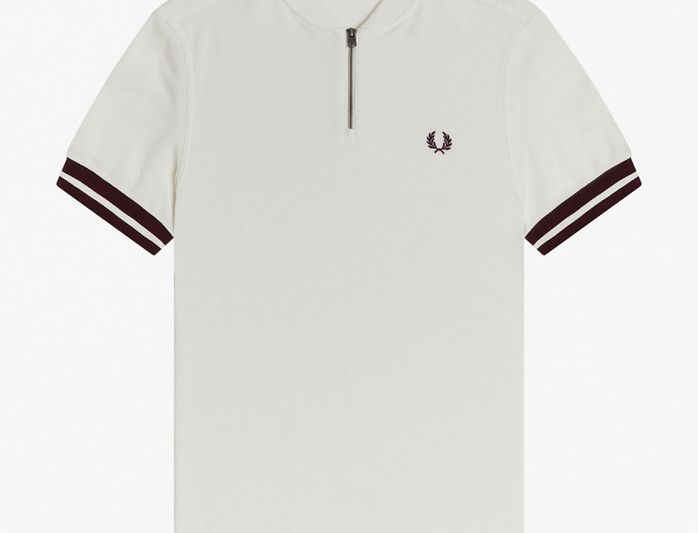 Fred Perry - Tipped Cuff Zip Neck Polo - Snow White