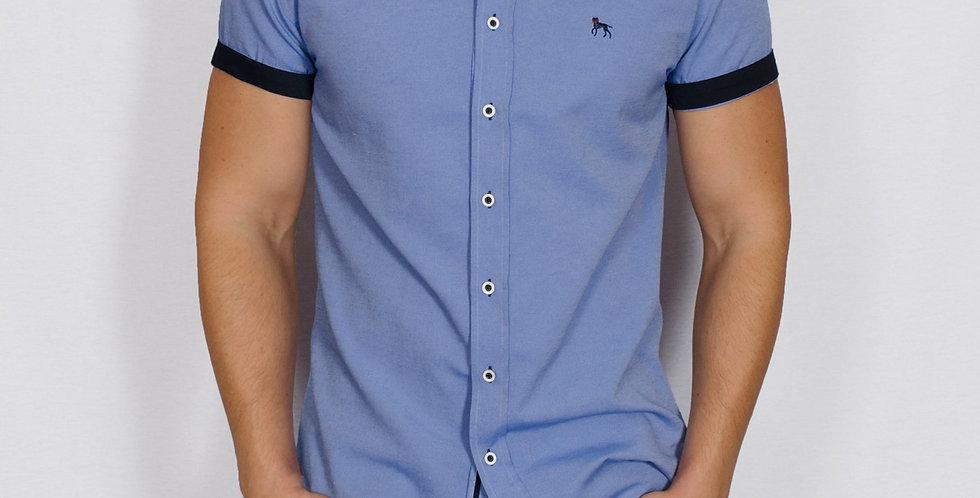 Bewley & Ritch - Slim Fit Oxford Short Sleeve Galand Shirt - Chambray Blue