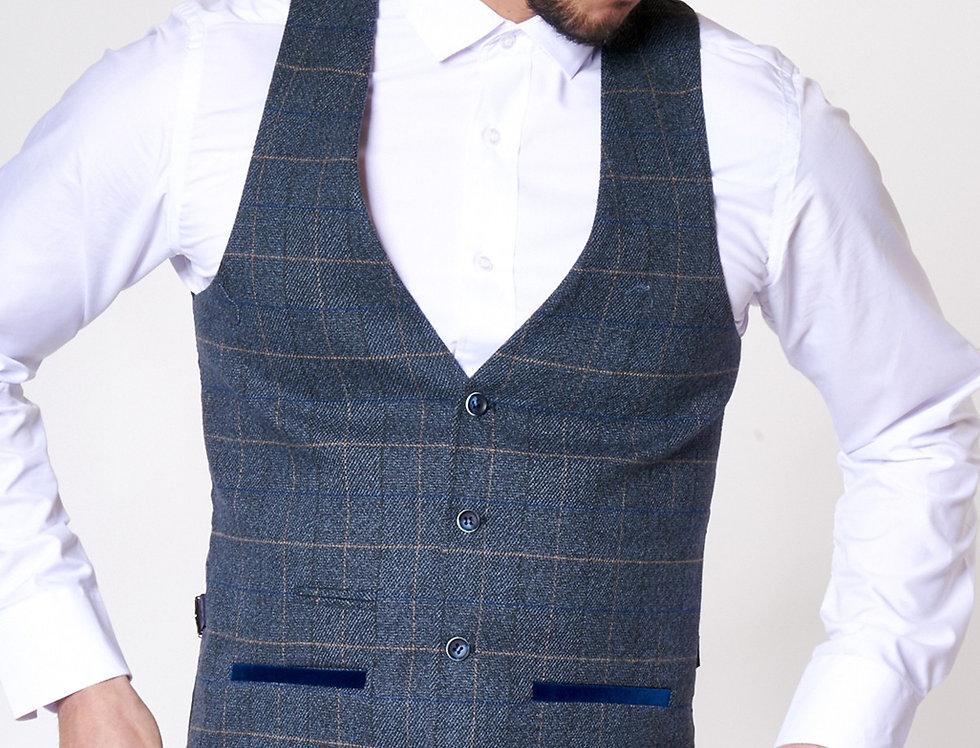 Marc Darcy - Scott - Single Breasted Blue Tweed Check Print Waistcoat