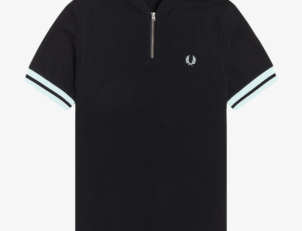Fred Perry - Tipped Cuff Zip Neck Polo - Black