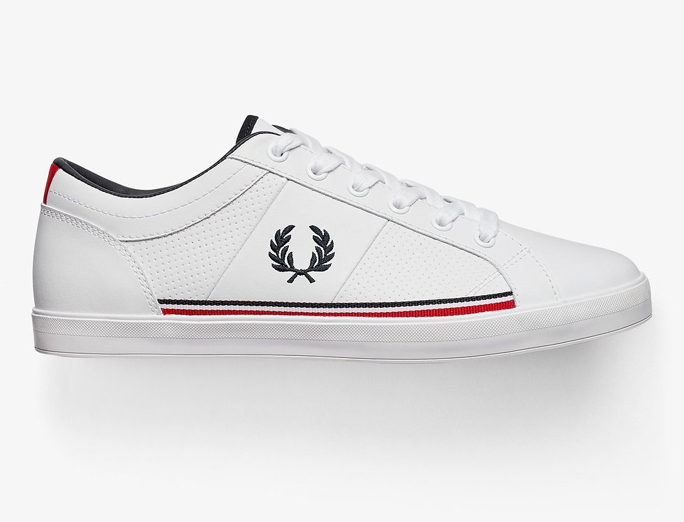 Fred Perry - Perforated Leather Trainers - White