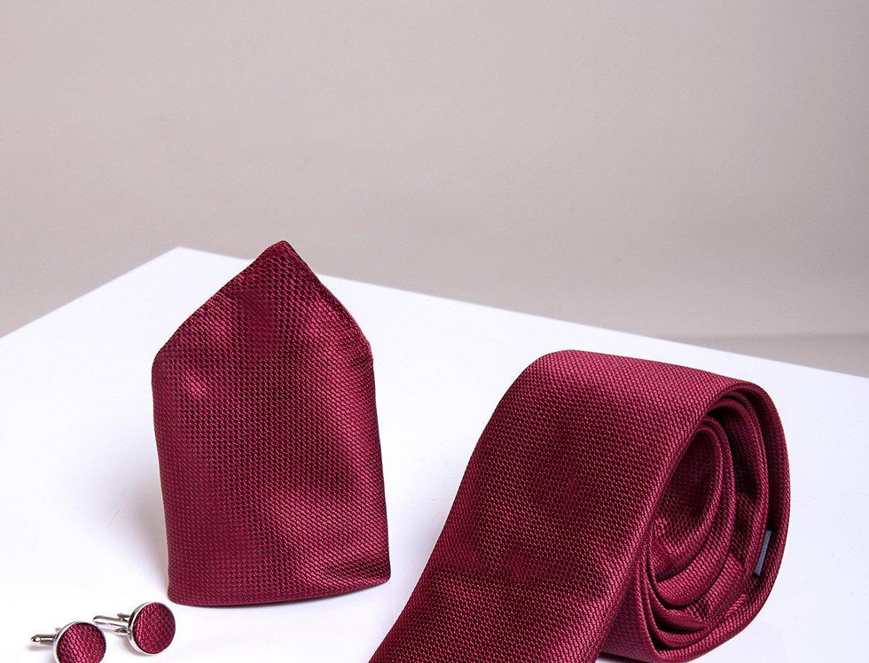 Marc Darcy - Wine Birdseye Tie, Cufflink & Pocket Square Set