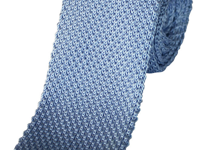 Lloyd Attree & Smith - Plain Knitted Poly Tie - Light Blue