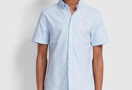 Farah - Brewer Slim Fit Short Sleeve Oxford Shirt - Sky Blue