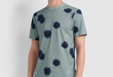 Farah - Yandell Floral Print T-Shirt - Green Mist