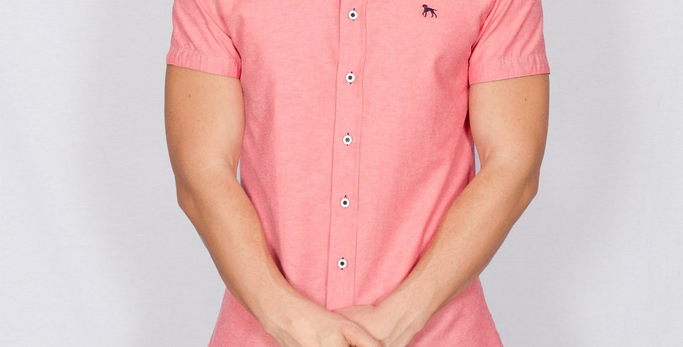Bewley & Ritch - Slim Fit Oxford Short Sleeve Galand Shirt - Red