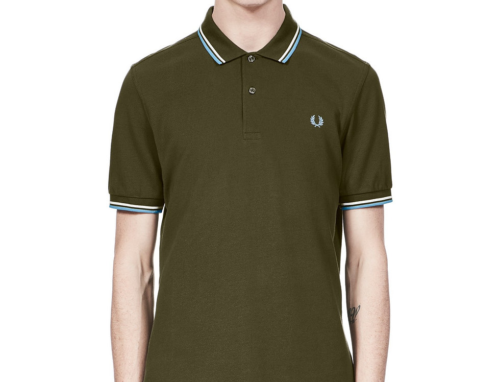 Fred Perry - Twin Tipped Polo - Dark Fern/Snow White/Sky Blue