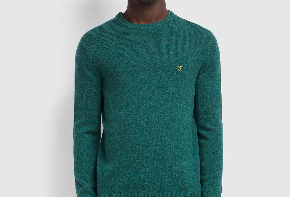 Farah - Rosecroft Lambswool Crew Neck Jumper - Emerald Green