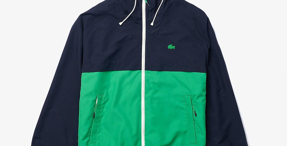 Lacoste - Hooded Bicolour Water-Resistant Zip Windbreaker  - Navy/Green