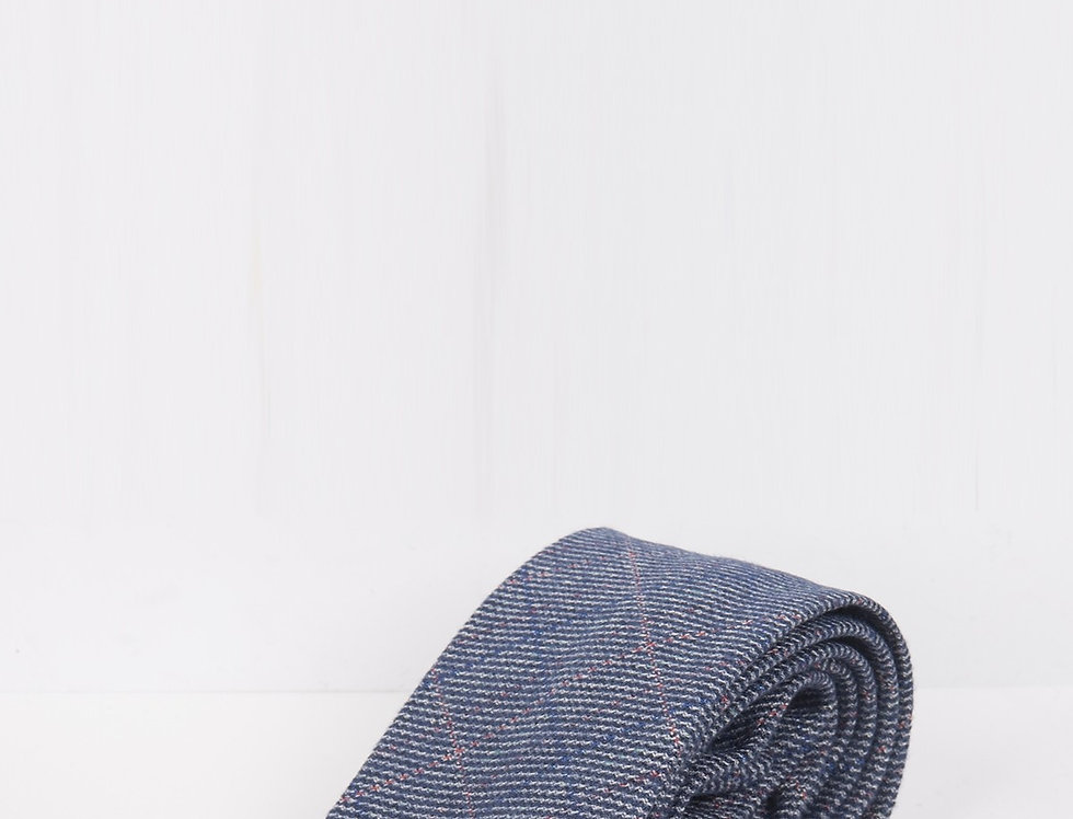 Marc Darcy - Hilton/Harry - Blue Check Print Tweed Tie