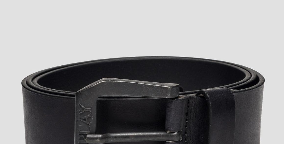 Replay - Leather Square Belt With Buckle - Black