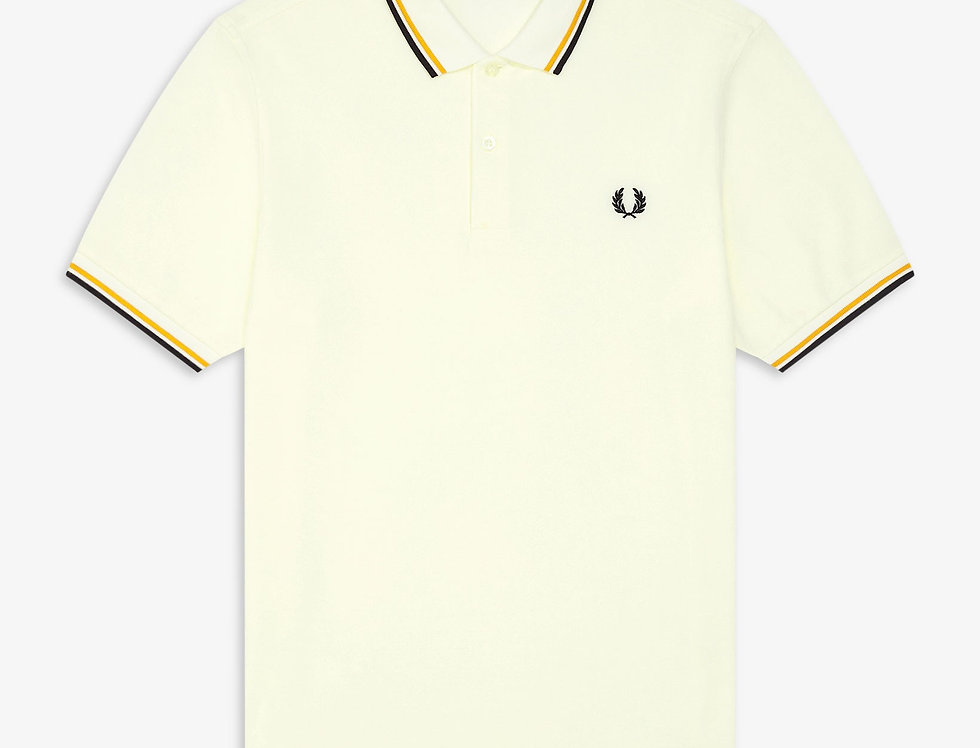 Fred Perry - Twin Tipped Polo - Snow White/Gold/Black