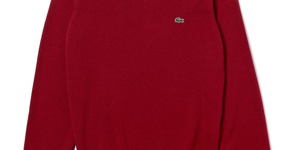 Lacoste - Crew Neck Caviar Piqué Accent Cotton Jersey Sweater - Red
