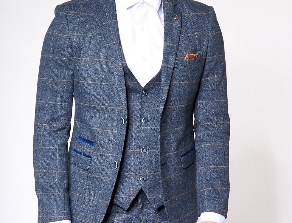 Marc Darcy - Scott - Blue Tweed Check Print Blazer