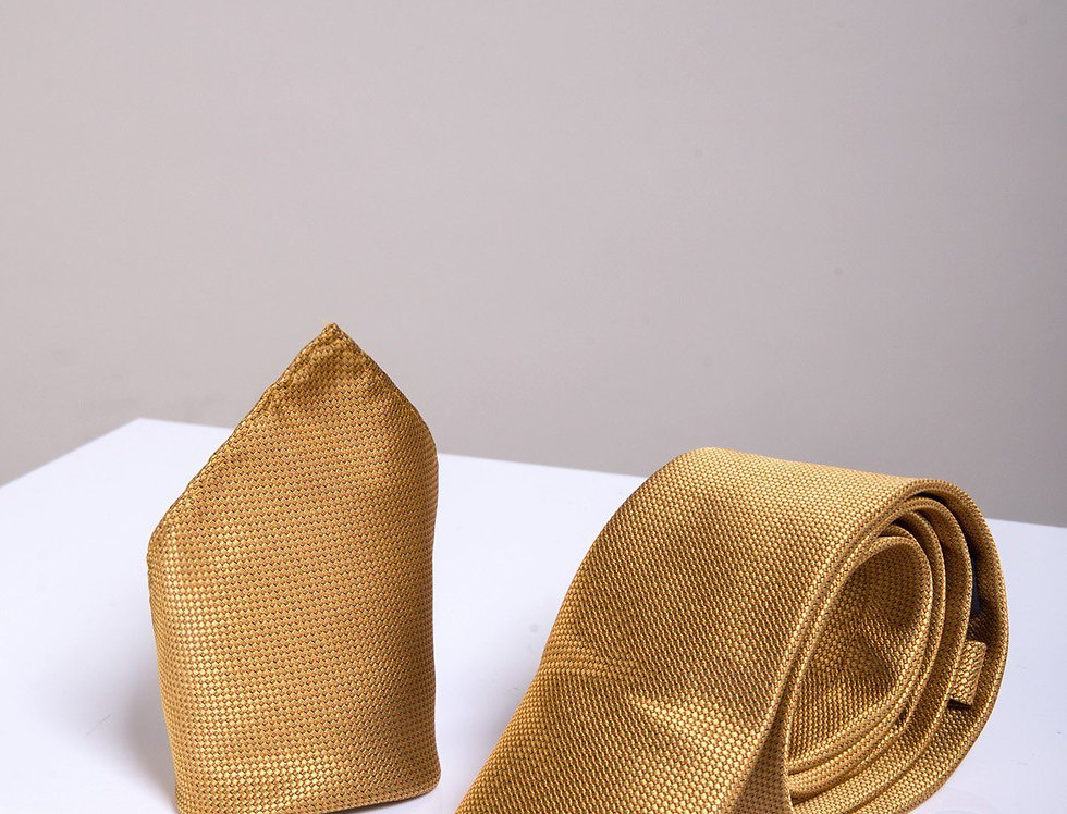 Marc Darcy - Gold Birdseye Tie, Cufflink & Pocket Square Set
