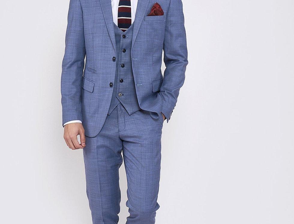Marc Darcy - SID - Blue Grey Check Three Piece Suit