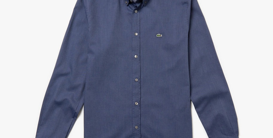 Lacoste - Slim Fit Polka Dot Print Cotton Poplin Shirt - Navy Blue