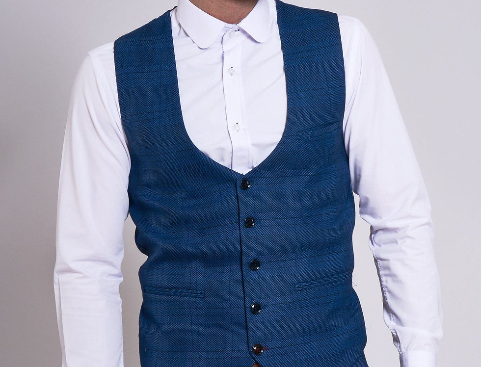 Marc Darcy - JERRY - Blue Check Single Breasted Waistcoat