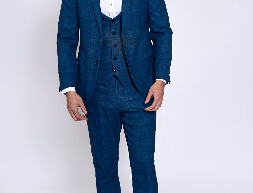 Marc Darcy - Jerry - Blue Check Suit With Single Breasted Waistcoat