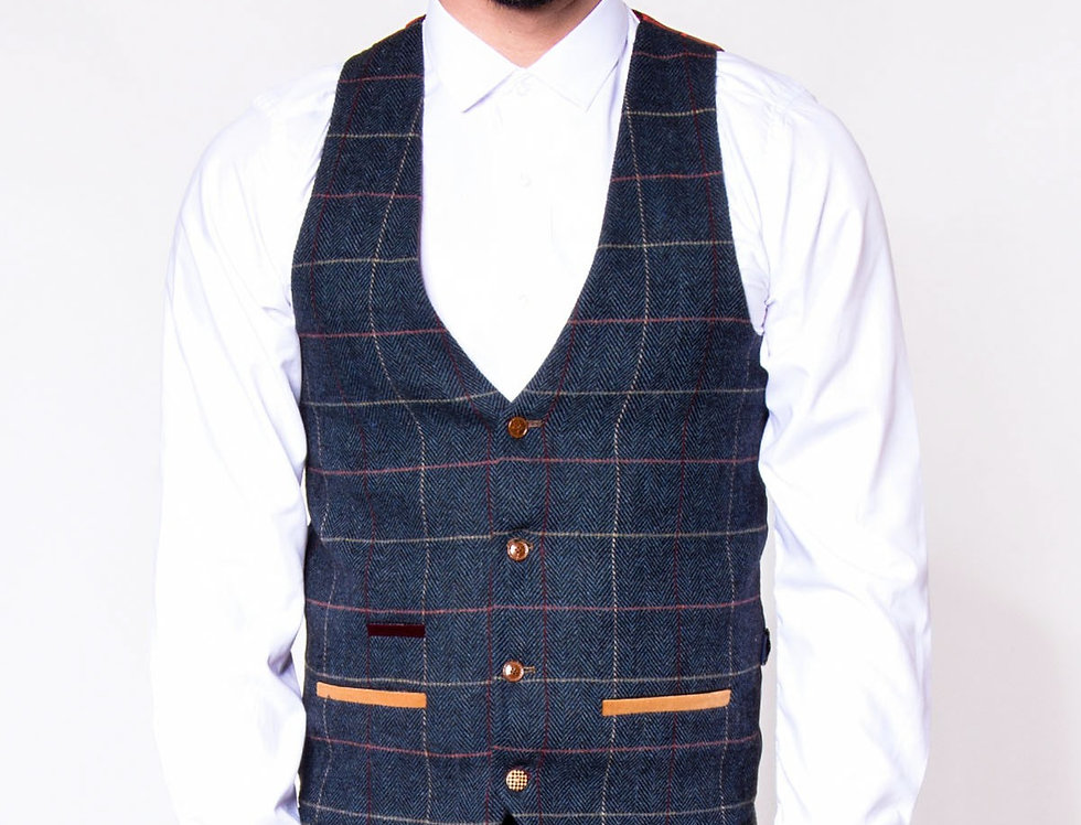 Marc Darcy - Eton - Single Breasted Navy Check Print Tweed Waistcoat