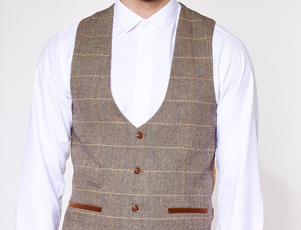 Marc Darcy - Blake/DX7/Ted - Single Breasted Tan Tonal Check Tweed Waistcoat