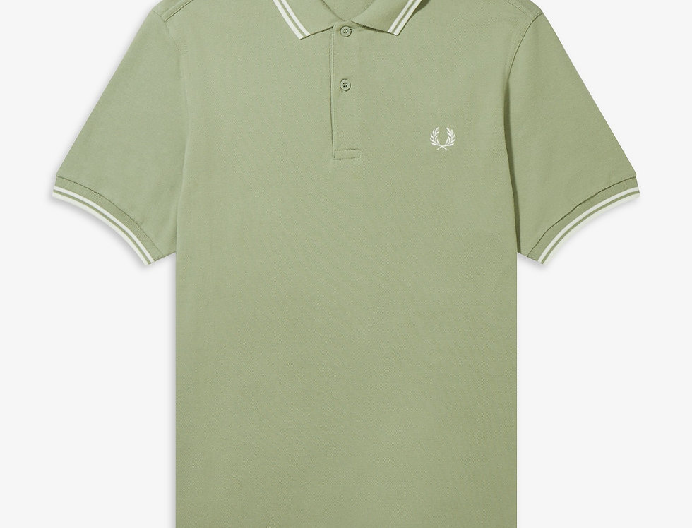 Fred Perry - Twin Tipped Polo - Light Sage/Snow White/Snow White