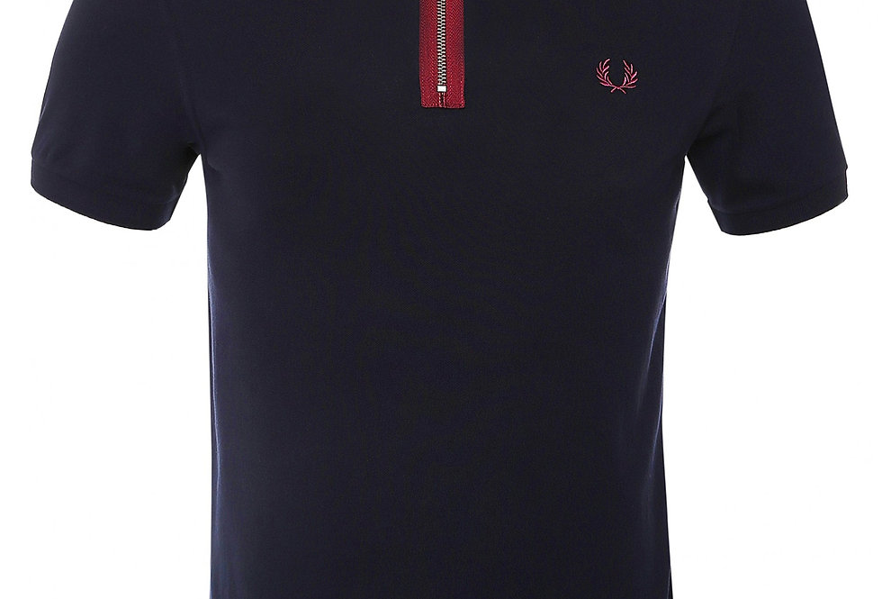 Fred Perry - Zip Neck Polo - Navy