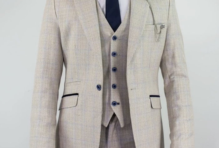 Cavani - Caridi Slim Fit Check Suit - Beige