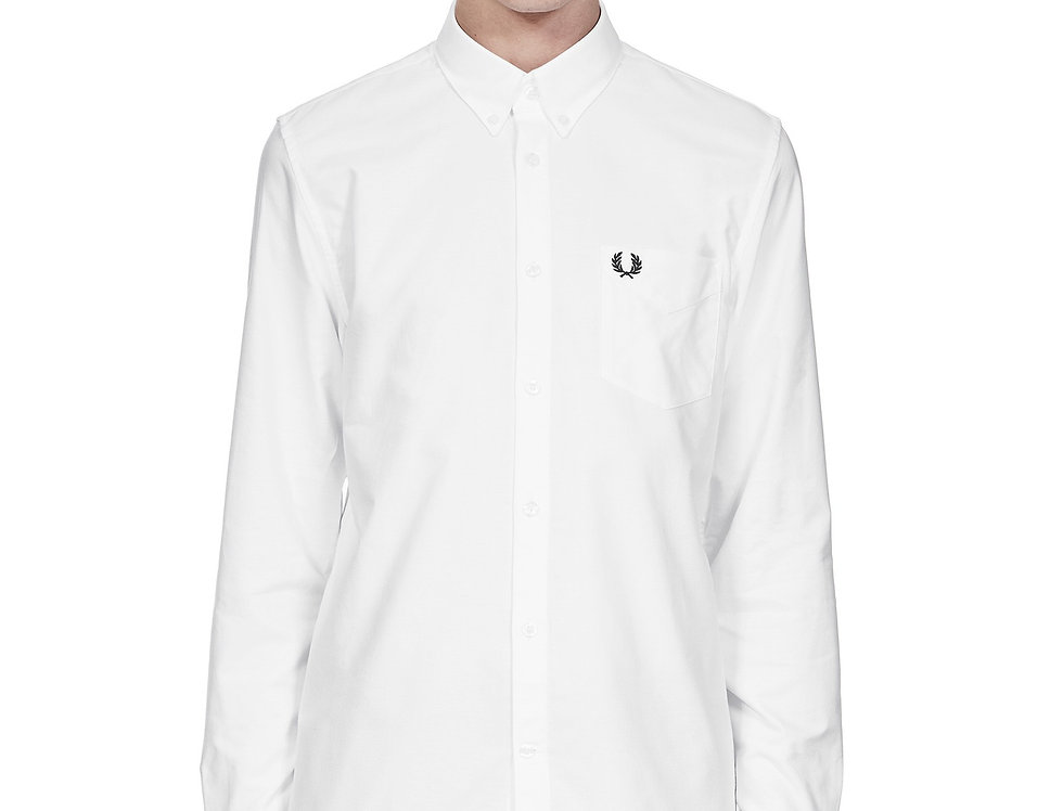 Fred Perry - Classic Long Sleeved Oxford Shirt - Snow White
