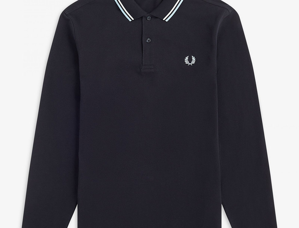 Fred Perry - Long Sleeve Twin Tipped Polo - Navy / Snow White / Ice
