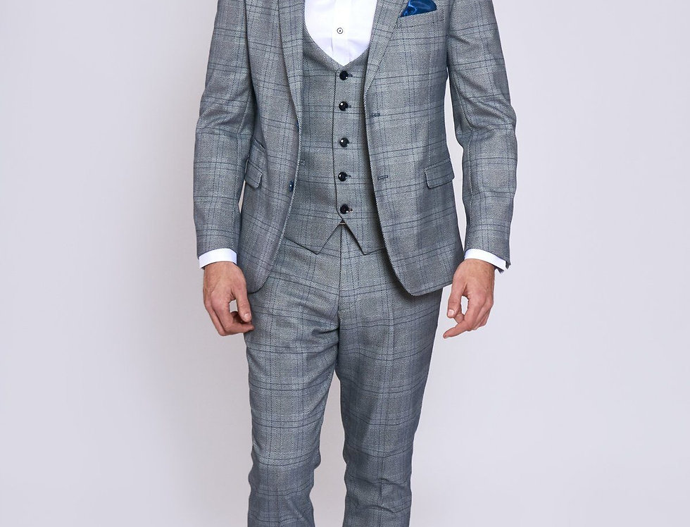 Marc Darcy - Jerry - Grey Check Suit With Single Breasted Waistcoat