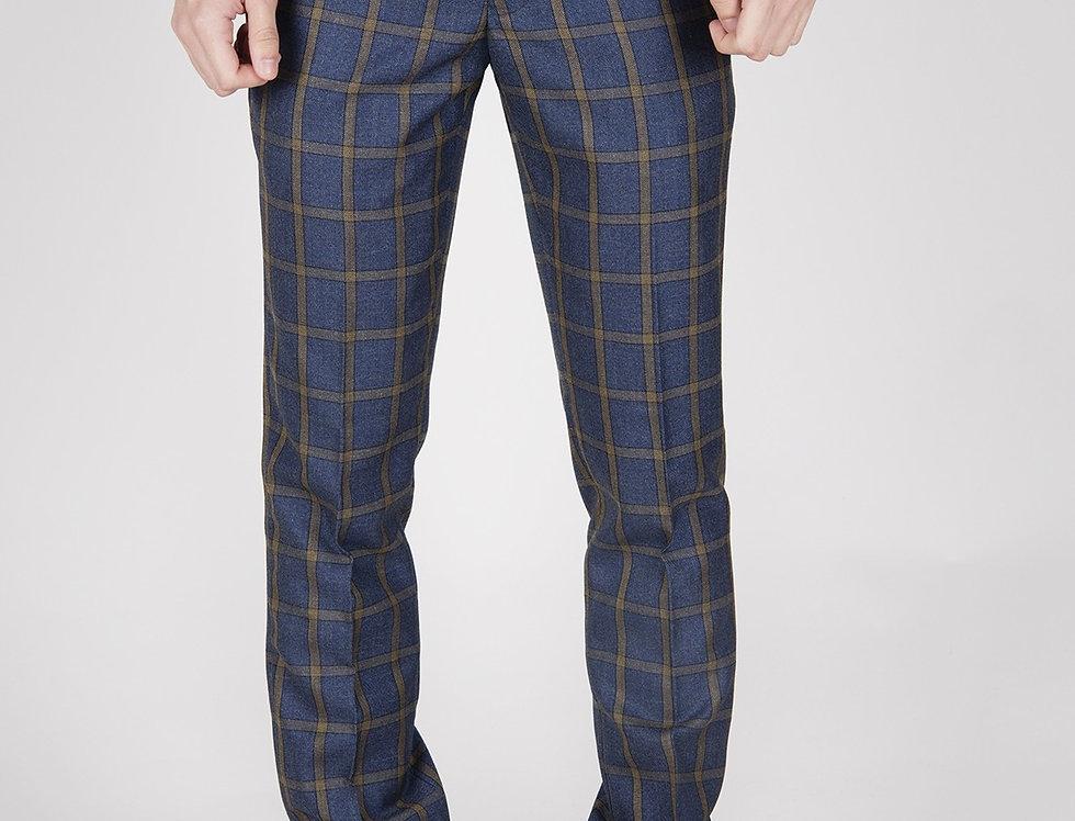 Marc Darcy - Roman - Blue Windowpane Check Print Trousers