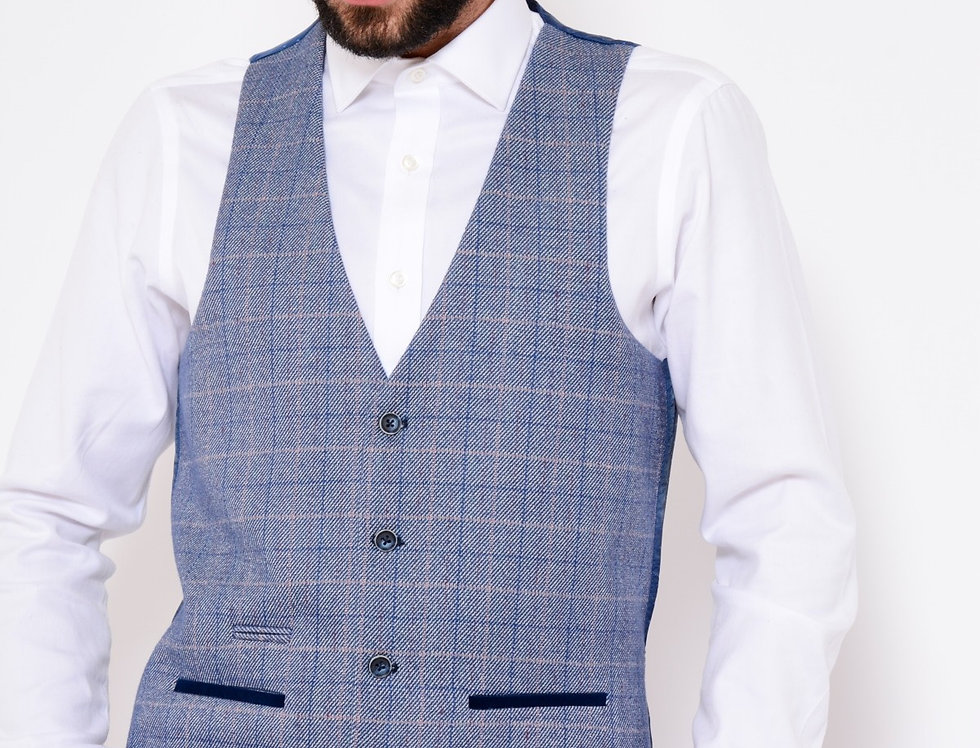 MarcDarcy - Hilton/Harry - Blue Check Print Tweed Single Breasted Waistcoat