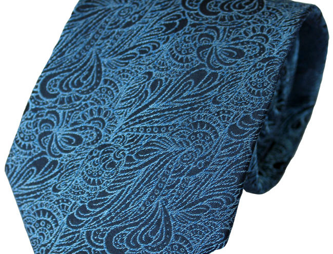Lloyd Attree & Smith - Swirl Pattern Poly Tie - Blue