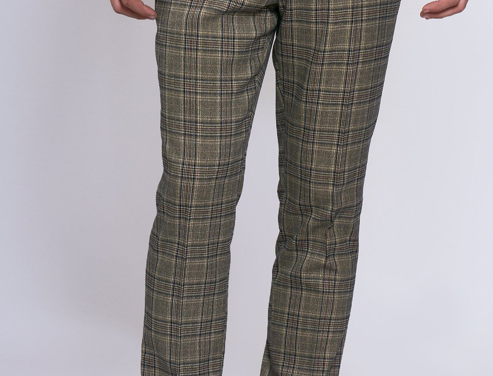 Marc Darcy - ENZO - Tan Check Tweed Trousers