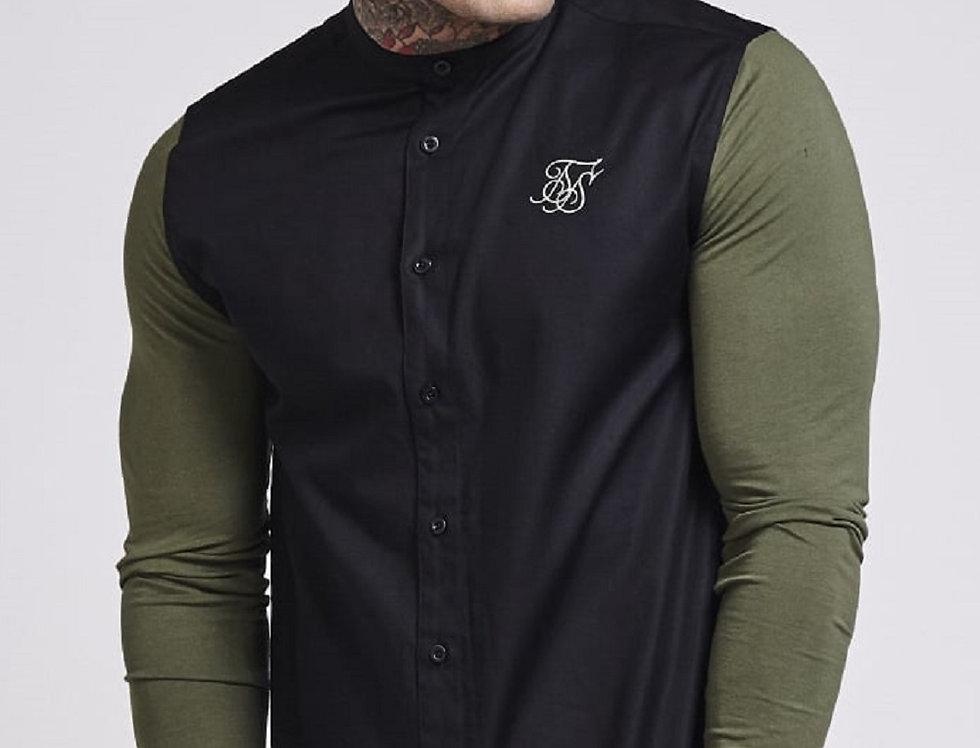 Sik Silk - Contrast Jersey Sleeve Grandad Collar Shirt - Black & Khaki