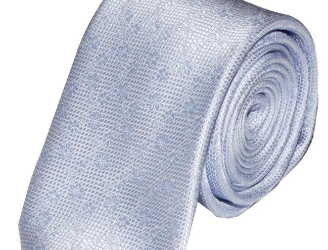 Lloyd Attree & Smith - Floral Poly Standard Tie - Light Blue